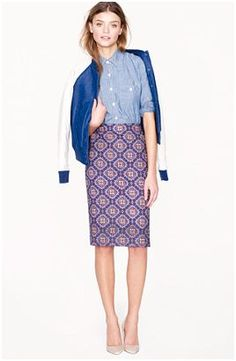 great fit, great skirt, not crazy about the ad...J.Crew NO. 2 PENCIL SKIRT IN MEDALLION PAISLEY - Prep school chic!