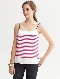 Striped Thin-Strap Tank Banana Republic. Very comfortable and breezy. Perfect for Summer.