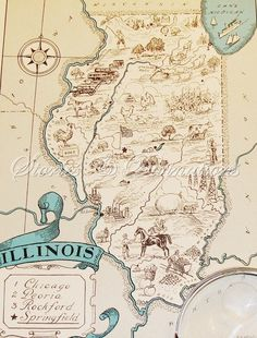 I am just an Illinois girl. Illinois Vintage map Vintage Illinois Map by StoriesDivinations, $21.00