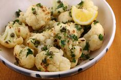 Cauliflower side dish flavored with lemon, garlic and capers.