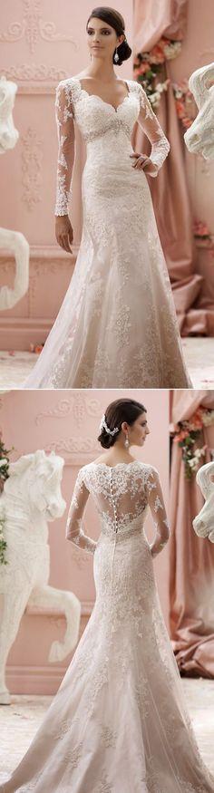 30 of the Most Beautiful Long Sleeve Wedding Dresses of 2015! David Tutera for Mon Cheri:
