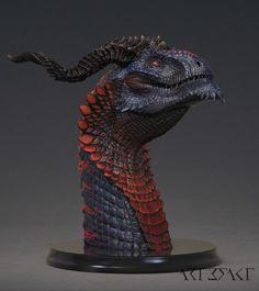 Ssathraz - Dragon Bust painted, Winton Afric on ArtStation at https://www.artstation.com/artwork/Ozabw