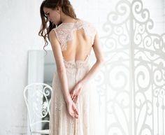 Boho wedding dress, open back wedding dress, lace wedding dress, Bohemian wedding dress, lace back wedding dress