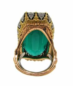 Buccellati Green Tourmaline, Diamond & Gold Ring
