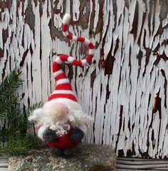 Santa Gnome Ornament, Needle Felted Santa Ornament, Soft Wool Sculpture, Holiday Decor, Needle Felted Gnome, Wool Tomte, Scandinavian Decor by WoodlandFelties on Etsy https://www.etsy.com/ca/listing/470369414/santa-gnome-ornament-needle-felted-santa