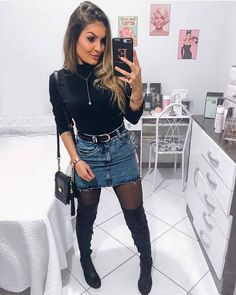 wonderful winter outfits ideas for this season 15 Denim Skirt Outfits, Komplette Outfits, Trendy Outfits, Fashion Outfits, Denim Skirt Outfit Winter, Long Boots Outfit, Jeans Fashion, Night Outfits, Fall Winter Outfits