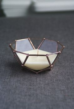 Little candle holder. Glass facets. Geometric. Table decor. Icosidodecahedron. Handmade soy candle.