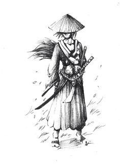 Dessin samouraï homme avec chapeau