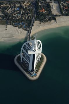 Burj Al-Arab Hotel aerial view in Dubai, United Arab Emirates