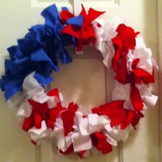 Fourth of July door hanger craft. Just made this! :)
