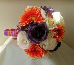 Purple and Orange Bridal Bouquet, Fall Wedding, Silk Wedding Flowers | Whitetulip - Wedding on ArtFire