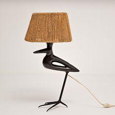 Roger Capron - Bird shaped table lamp, circa 50s  http://www.galerieriviera.com