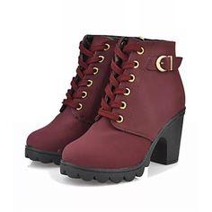 botas de los zapatos de la moda de las mujeres de tacón grueso botines más colores disponibles - USD $ 14.99