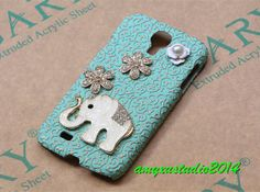 mint green embossed floral samsung galaxy s4 case,cute elephant samsung galaxy s4 case,samsung galaxy s4 cover,gift on Etsy, $16.99
