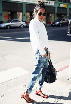 Messy top knot,white button up and boyfriend jeans | WhoWhatWear.com