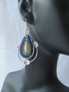 glass earrings / silver hoop earrings with blue by RubyRoydJewelry, $42.00