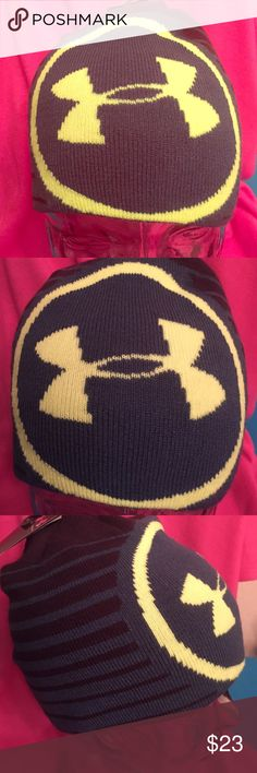🆕 Under Armour Reversible Beanie Authentic Under Armour Reversible Beanie. Unisex. OSFA. Side 1- Forest Green with Black Stripes. Bright Green UA Logo in the Front. Side 2- Forest Green. Ribbed Knit. 95% Acrylic/4% Nylon/1% Elastane. Brand New. Excellent Condition. No Trades. Under Armour Accessories Hats
