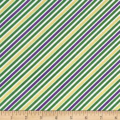 Robert Kaufman Remix Metallic Diagonal Stripe Mardi Gras from @fabricdotcom  Designed by Ann Kelle for Robert Kaufman, this cotton print is perfect for quilting, apparel and home decor accents. Colors include green, purple, white, and metallic gold.