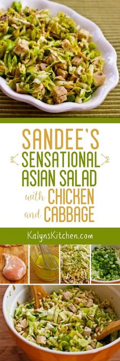 My sister Sandee's Sensational Asian Salad with Chicken and Cabbage was a big hit at the family Superbowl party, so I made a low-carb version for the blog! [found on KalynsKitchen.com]
