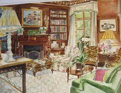 Watercolors of Interiors by Mita Bland   Mita Corsini Bland