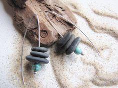 Beach Stones Pebble Earrings Zen Black by LupinePrairieGlass