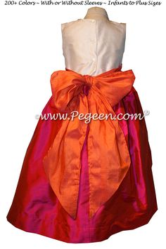 Flower Girl Dress Style 398 White, Mango and Hot Pink | Pegeen