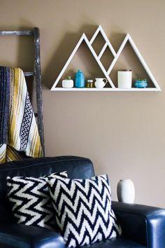 Mountain Range Pine Wood Triangle Shelf Painted White, Triangle Shelf, Geometric Shelf, Wall Art, Shelving