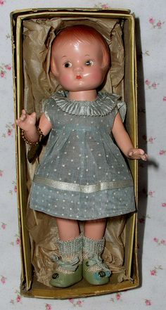 """1930s SUPERB 9"""" Composition Patsyette doll by Effanbee -- MINT in Box & All Original"""