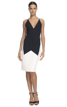 Vestido de sarga elastizada mecánica negro y blanco
