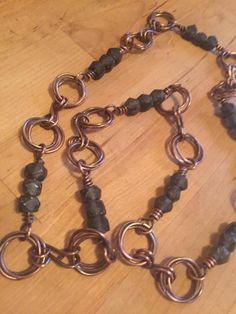 Copper and glass bead necklace by Diane