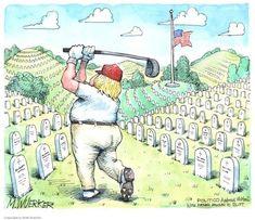 It's criminal negligence. Cartoon via Kaitlan Collins, Chris Morris, Remove Trump, Robert Reich, American Veterans, Political Cartoons, Trump Cartoons, Satire, Donald Trump