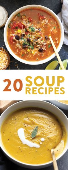 This Healthy Soup Recipe round up is full of vegan soup recipes gluten free soup recipes and chili recipes! Perfect for meal prep. Healthy Soup Recipes, Dog Recipes, Chili Recipes, Healthy Foods To Eat, Healthy Eating, Cooking Recipes, Cleanse Recipes, Fast Recipes, Korma
