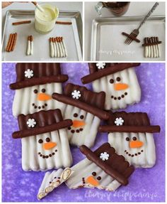 Snowman Desserts and Easy Snowman Treats. If winter days make you long to build a snowman, then snowman desserts and easy snowman treats are the warmest and yummiest holiday ideas! Christmas Snacks, Christmas Cooking, Christmas Goodies, Christmas Candy, Holiday Recipes, Christmas Snowman, Winter Christmas, Christmas Chocolate, Candy Cane Christmas