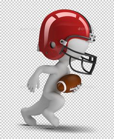 3D Small People - American Football by AnatolyM 3d small person �20american football player running with ball. 3d image. Transparent high resolution PNG with shadows.