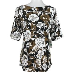 Karen Scott Floral Printed Top 3 4 Cuffed Sleeves Black Brown White Size  Large  ed7cd54f2