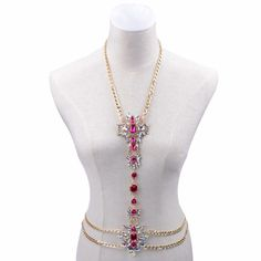 """Twinks"" Pink Crystal Rhinestone Embellished Gold Body Chain Body Jewelry      Please Take Your Measurements Before You Buy!    Upper Chain Measurement: 40cm with 10cm Extender Chain to Adjust.     Vertical Length Measurement: (from above breast to  naval) is 36cm    Hip/Waist Chain Measurment: 102cm with 10cm Extender Chain to Adjust.     Other Designs Available     Handmade Upon Order     Gold Embellished with Pink Crystals.Shop Body Kandy Couture For Elegant Boudoir Body Jewels Unique…"