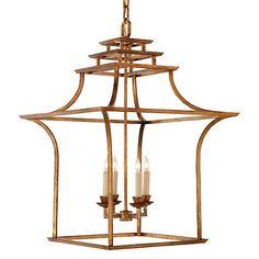 Brighton Pagoda Lantern, Gilded Iron $1,049.00 | Visual Comfort & Co.