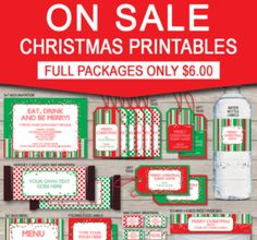 Printable Christmas Gift Tags, Party Invitations & Decorations – ON SALE NOW