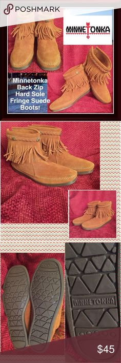 "Minnetonka Back Zip Hard Sole Fringe Suede Boots! Minnetonka Back Zip Hard Sole Fringe Saddle Brown Suede Boots! Features: 100% authentic,  back zipper, soft suede leather, braided single tier & studded fringe, 6 1/4"" high, 10"" top to end (bottom) leather insole & hard, non-slip sole. Sz 7. No rips, tears or stains. Like New condition! Fits true to size. Offers welcomed! Minnetonka Shoes Ankle Boots & Booties"