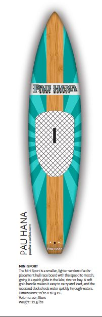 Pau Hana Mini Sport- smaller, lighter version of a displacement hull race board w/the speed to match giving it a quick glide in the lake, river or bay! #supboards #supeverydamnday #samata_magazine #standuppaddlemagazine   http://pauhanasurfco.com/