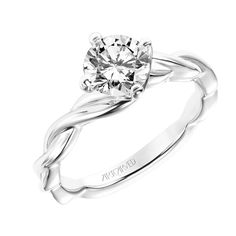 New for our Spring collection! Kassidy: Contemporary Diamond Engagement Ring with East-West Prongs and Polished Twisted Shank #artcarvedbridal #spring #whitegold #engagementring