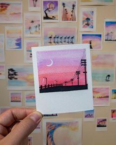 Watercolour print watercolor print pink mini landscape painting wall prints minimalist home Cute Canvas Paintings, Small Canvas Art, Mini Canvas Art, Mini Paintings, Landscape Paintings, Watercolor Landscape, Easy Paintings, Canvas Canvas, Easy Watercolor