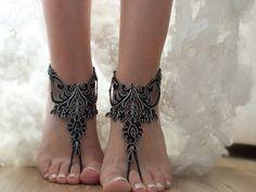 bridal anklet, black silver frame Beach wedding barefoot sandals, bangle, wedding anklet, , anklet, bridal, wedding