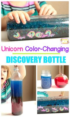 Love discovery bottles? This color changing discovery bottle teaches kids about the basics of color mixing and is the perfect unicorn activity.