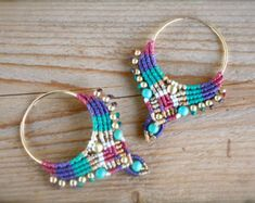 micro macrame large tribal fan earrings by yasminsjewelry on Etsy