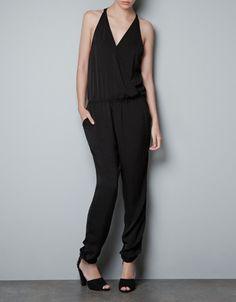 #Zara #TRF jumpsuit with crossover neckline, $59.90