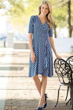 Printed-Knit-Faux-wrap-Dress