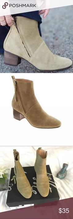 ❤Banana Republic boots. Worn last winter. ❤Banana Republic Lydia Boots. Olive color suede. Worn last winter. Real suede and still in great shape. Hate to see them go I've replaced these with another bootie and haven't worn them. Picture of sole show used somewhat. Mainly to go out to eat :) Banana Republic Shoes Ankle Boots & Booties