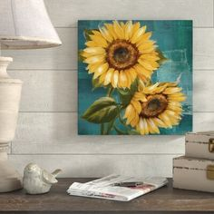 Enhancing an empty entryway or spicing up a spare space in the master suite is as easy as hanging up a piece of eyecatching wall art! This design depicts a pair of sunflowers, offering cheery hues of yellow and more subdued hues of blue Made in the - # Simple Oil Painting, Yellow Painting, Painting Prints, Watercolor Paintings, Art Paintings, Sunflower Canvas Paintings, Canvas Art, Canvas Prints, Sunflower Pictures