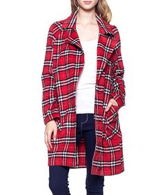 This Red Plaid Open Jacket is perfect! #zulilyfinds